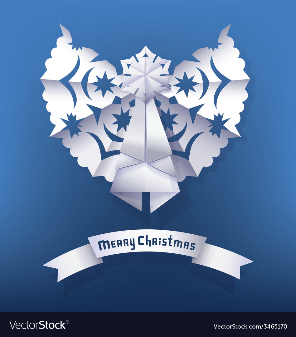 Paper angel christmas greeting vector | Price: 1 Credit (USD $1)
