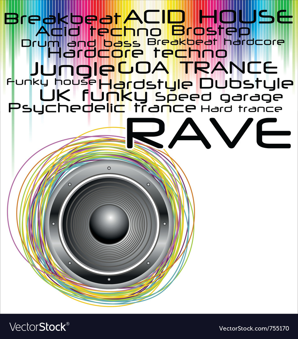 Rave music genres background vector | Price: 1 Credit (USD $1)
