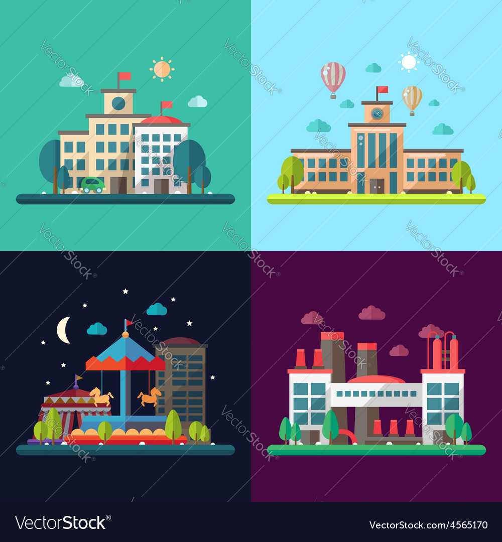 Set of modern flat design conceptual city vector | Price: 1 Credit (USD $1)