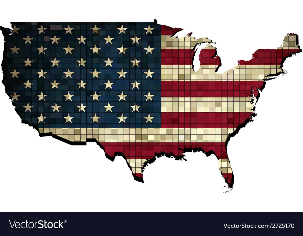 Usa map in grunge vector | Price: 1 Credit (USD $1)