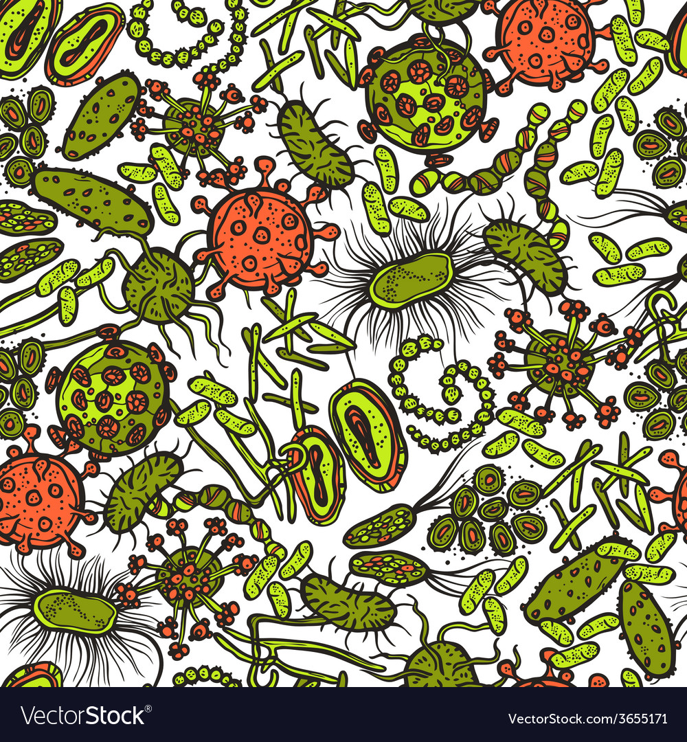 Bacteria and virus seamless vector | Price: 1 Credit (USD $1)