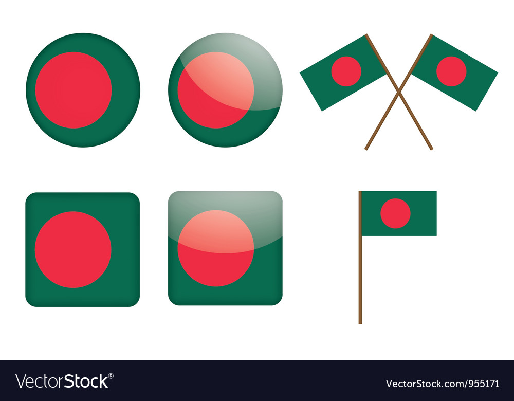 Badges with flag of bangladesh vector | Price: 1 Credit (USD $1)