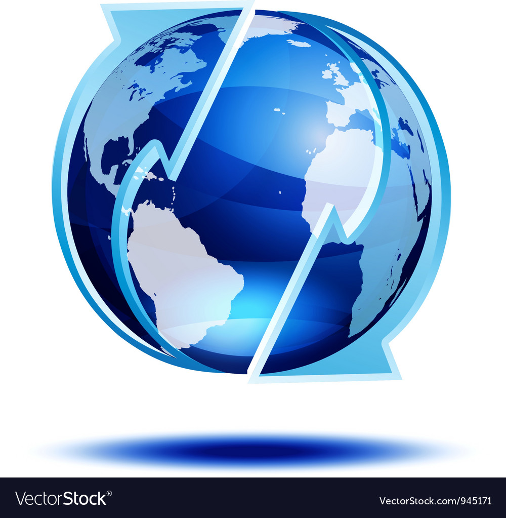 Blue globe with arrows vector | Price: 1 Credit (USD $1)
