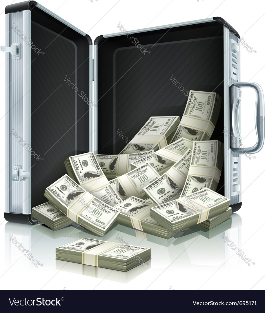 Case with dollars money vector | Price: 3 Credit (USD $3)
