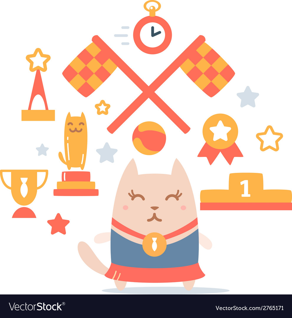 Character winner with a medal colorful flat vector | Price: 1 Credit (USD $1)