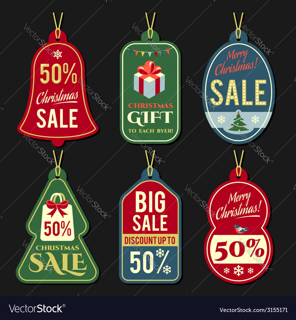Christmas discount tags vector | Price: 1 Credit (USD $1)