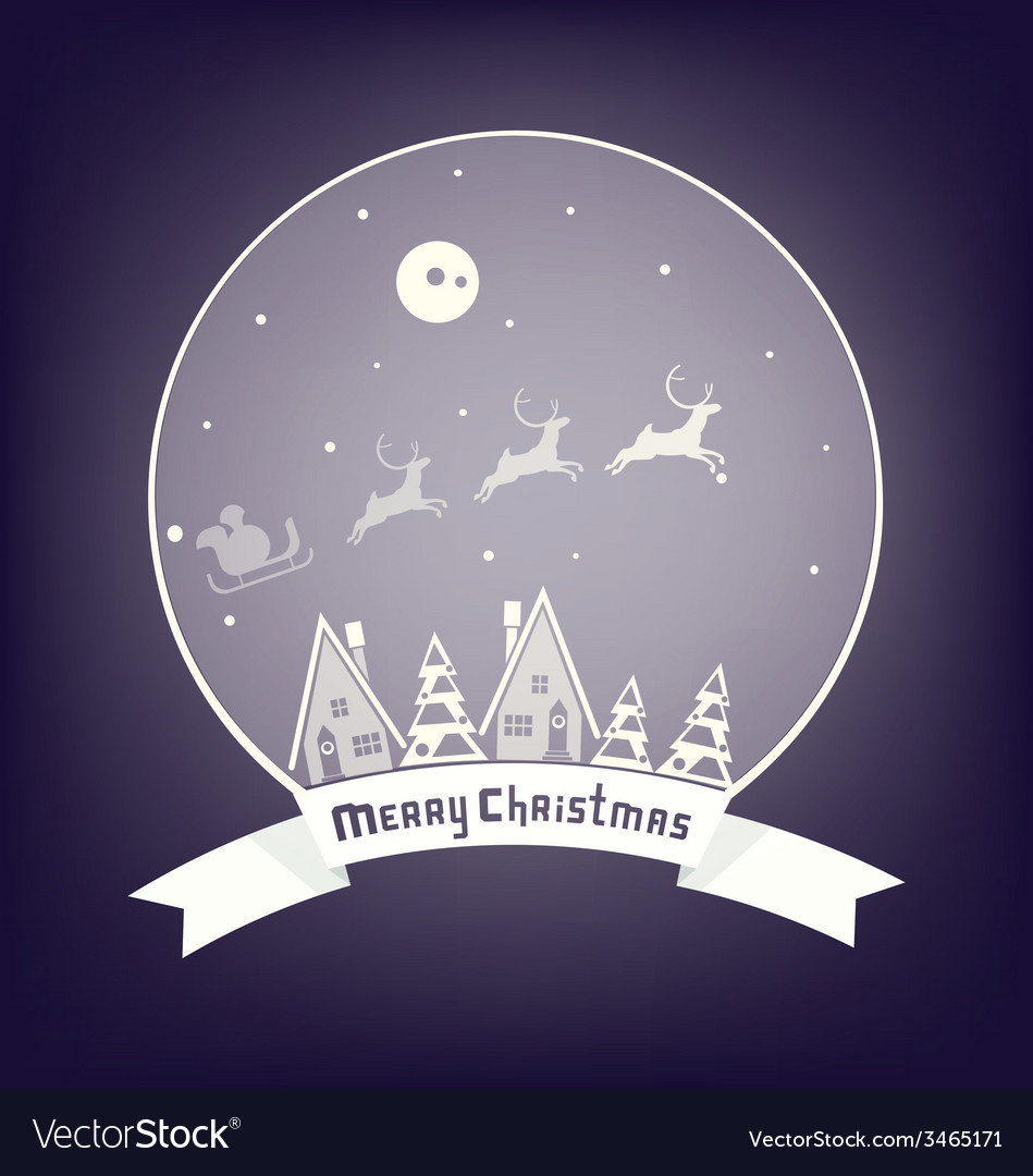 Christmass village design with lettering vector | Price: 1 Credit (USD $1)