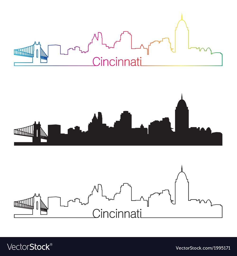 Cincinnati skyline linear style with rainbow vector | Price: 1 Credit (USD $1)