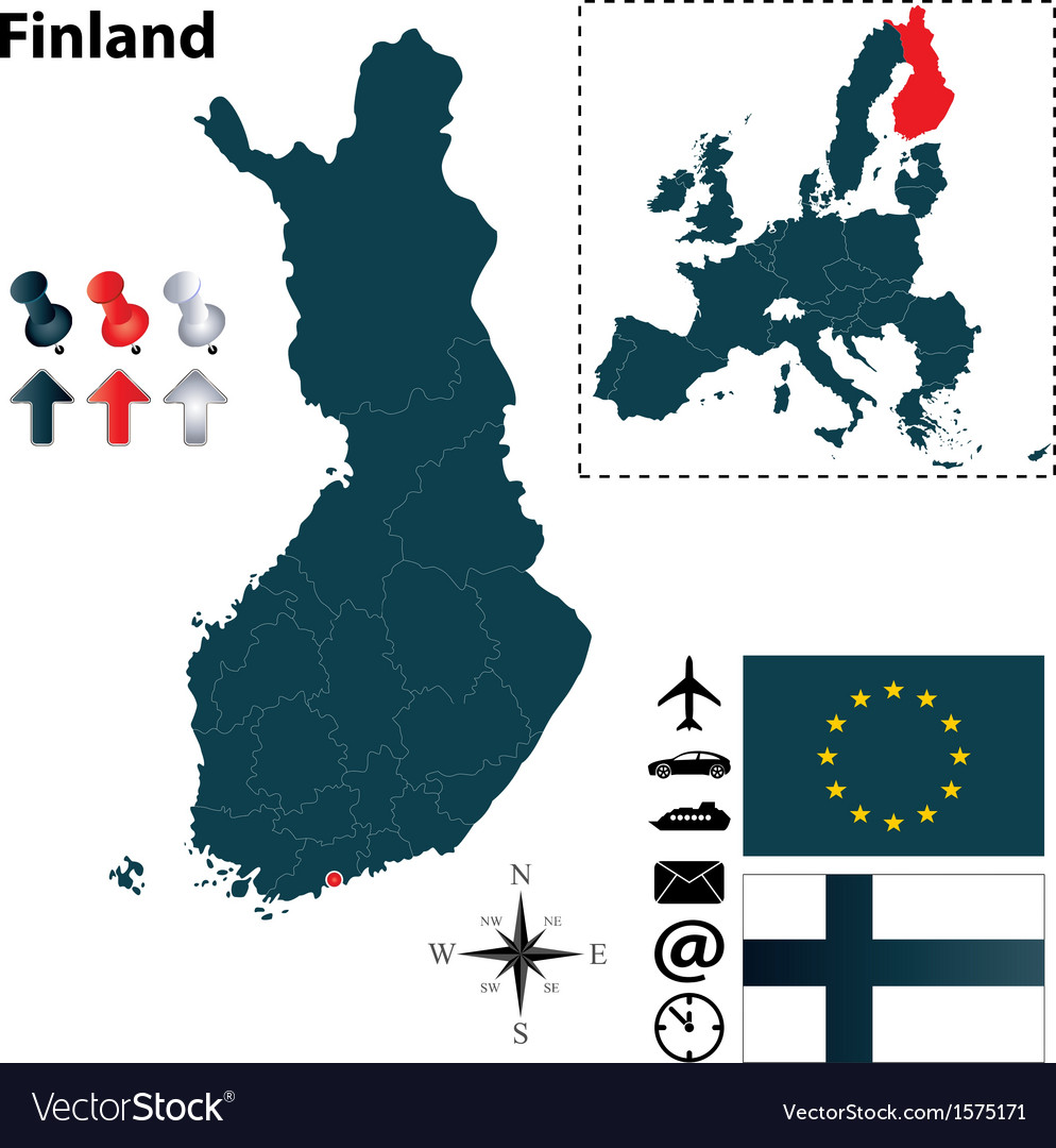 Finland and european union map vector | Price: 1 Credit (USD $1)