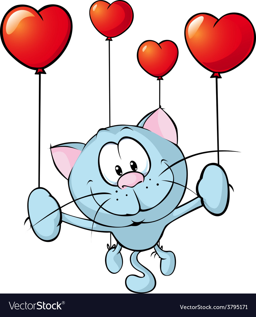 Funny blue cat flying with balloon - vector | Price: 1 Credit (USD $1)