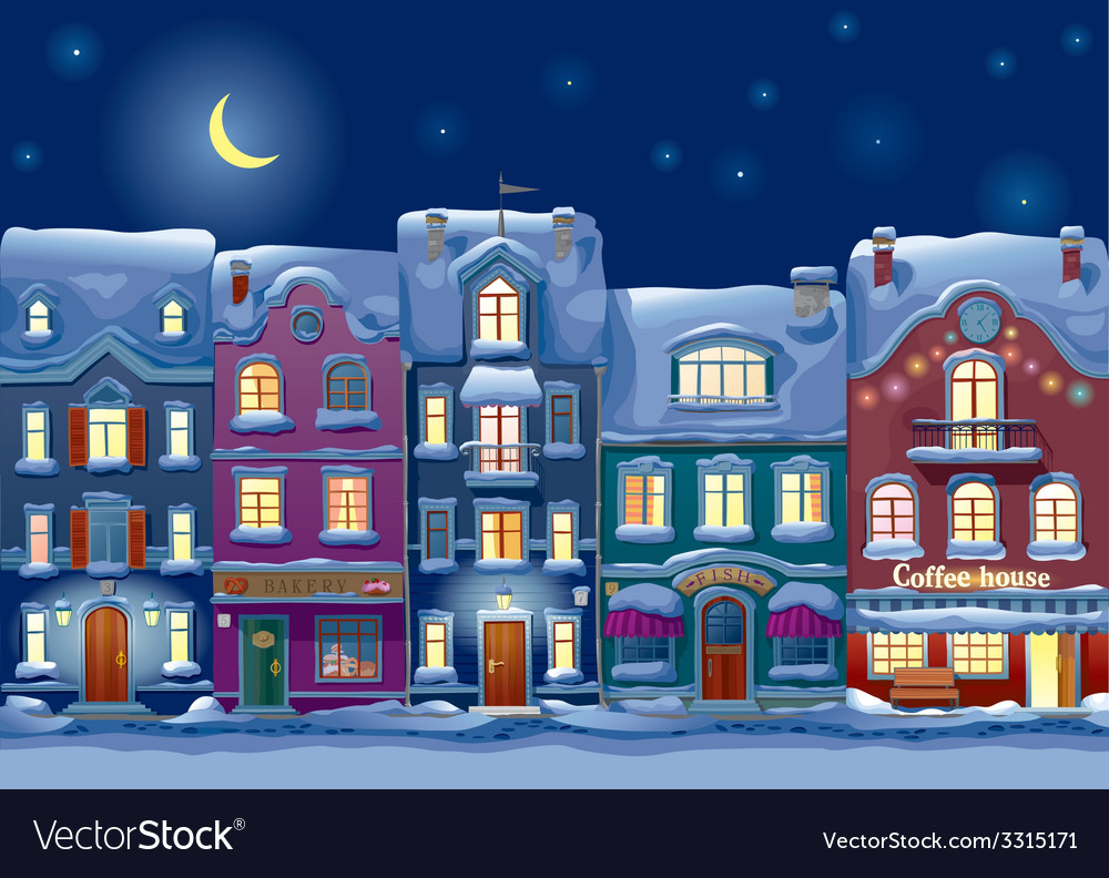 Midnight cityscape vector | Price: 3 Credit (USD $3)