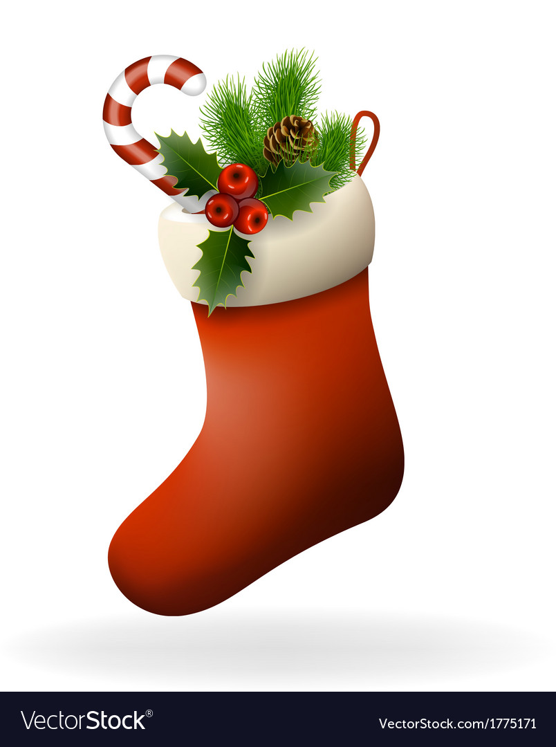 Red christmas sock vector | Price: 1 Credit (USD $1)
