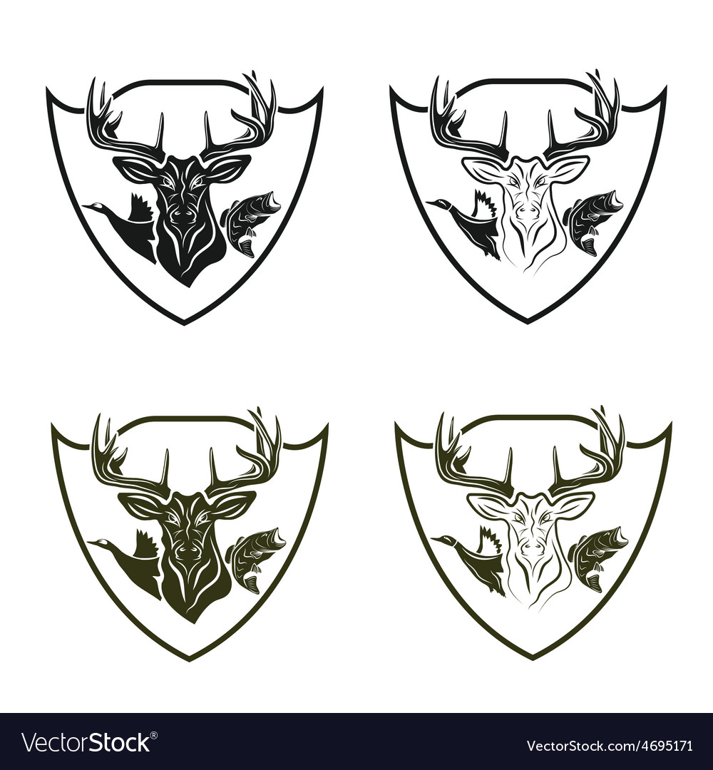 Set of vintage hunting and fishing crests vector | Price: 1 Credit (USD $1)