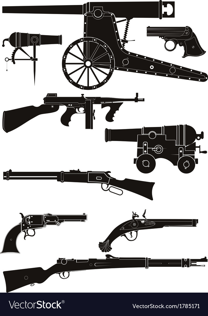 Silhouettes of classic firearms vector | Price: 1 Credit (USD $1)