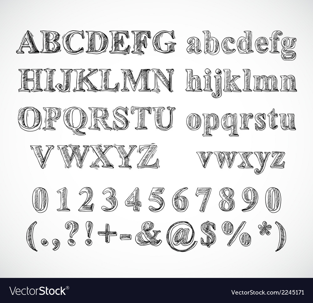 Sketch alphabet font vector | Price: 1 Credit (USD $1)