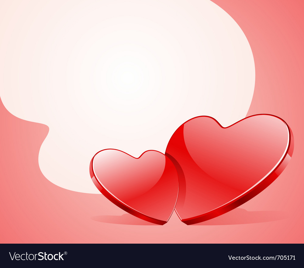 Two red shiny glass hearts vector | Price: 1 Credit (USD $1)