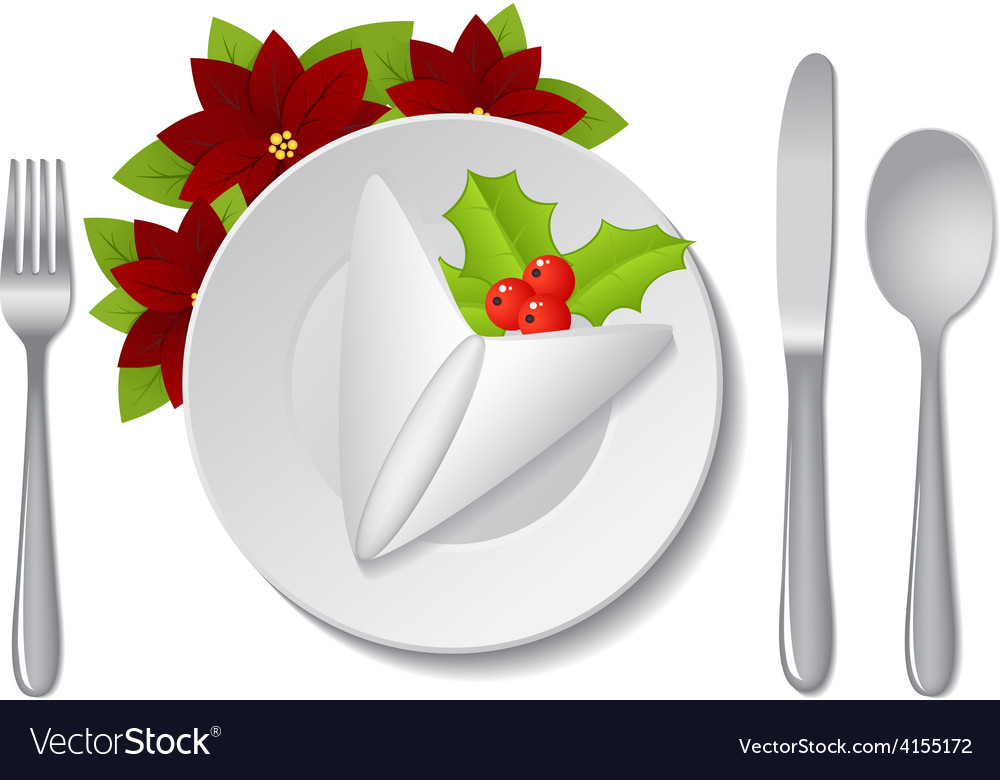 Christmas plate with napkin vector | Price: 1 Credit (USD $1)
