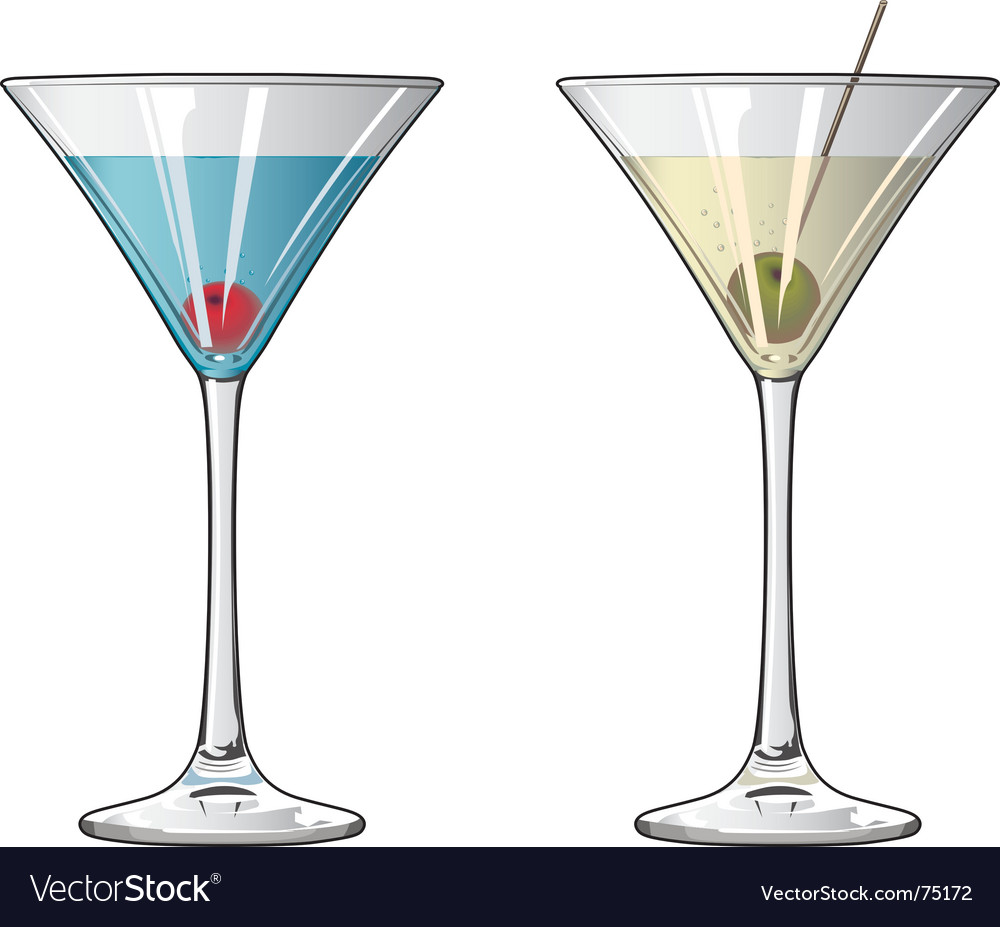 Cocktails with cherry and olive vector