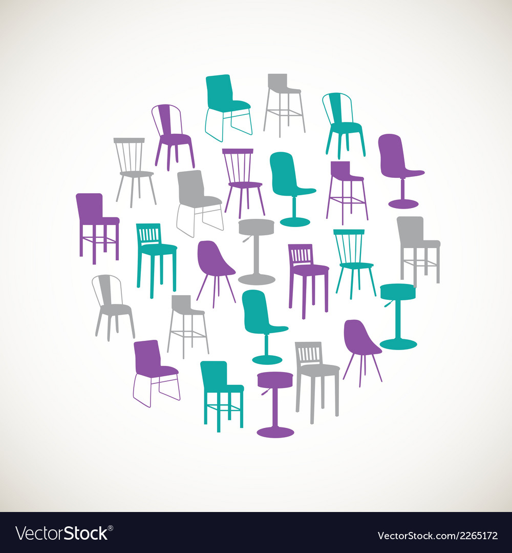 Colorful furniture icons - chairs vector | Price: 1 Credit (USD $1)