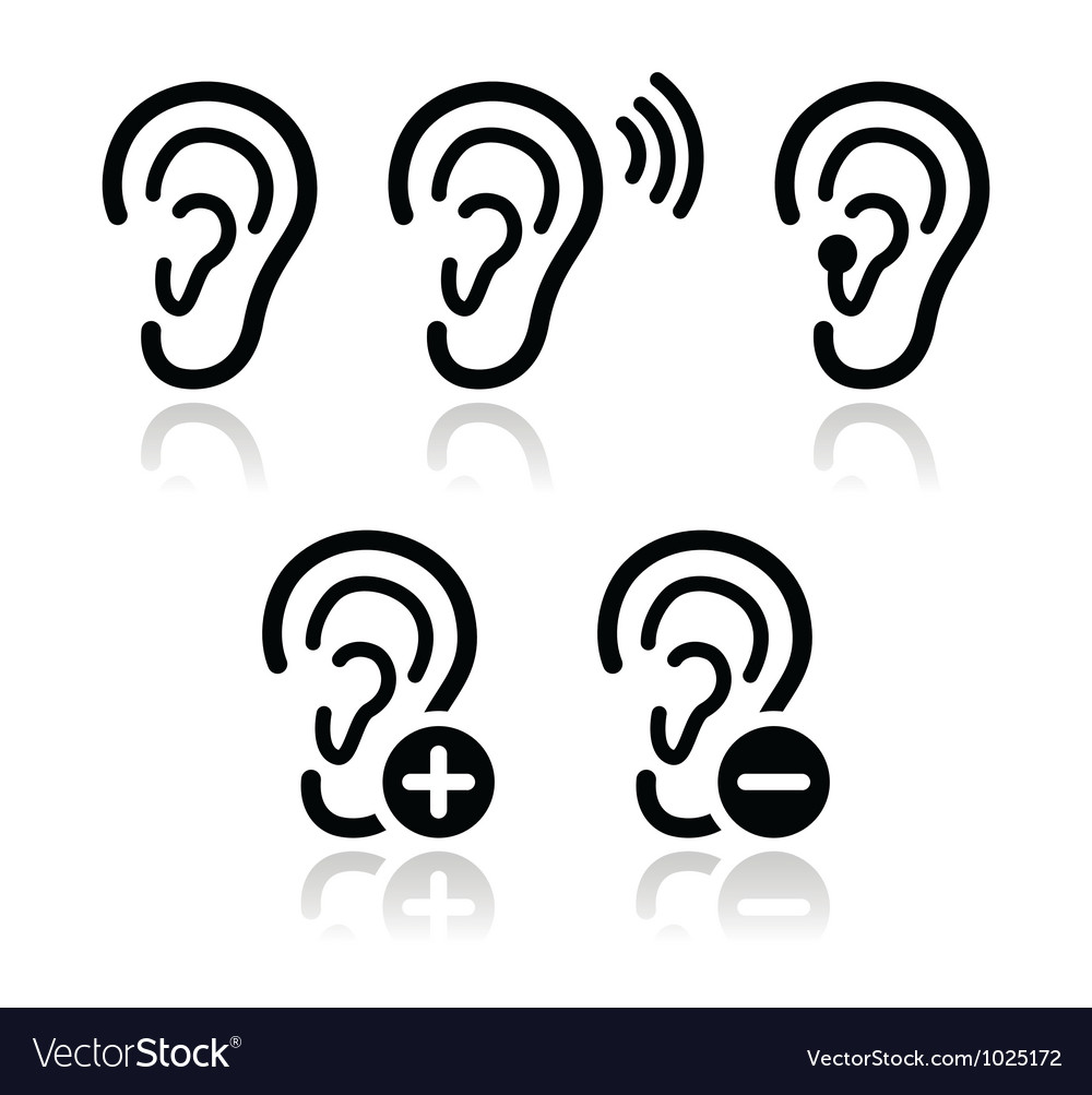 Ear hearing aid deaf problem icons set vector | Price: 1 Credit (USD $1)