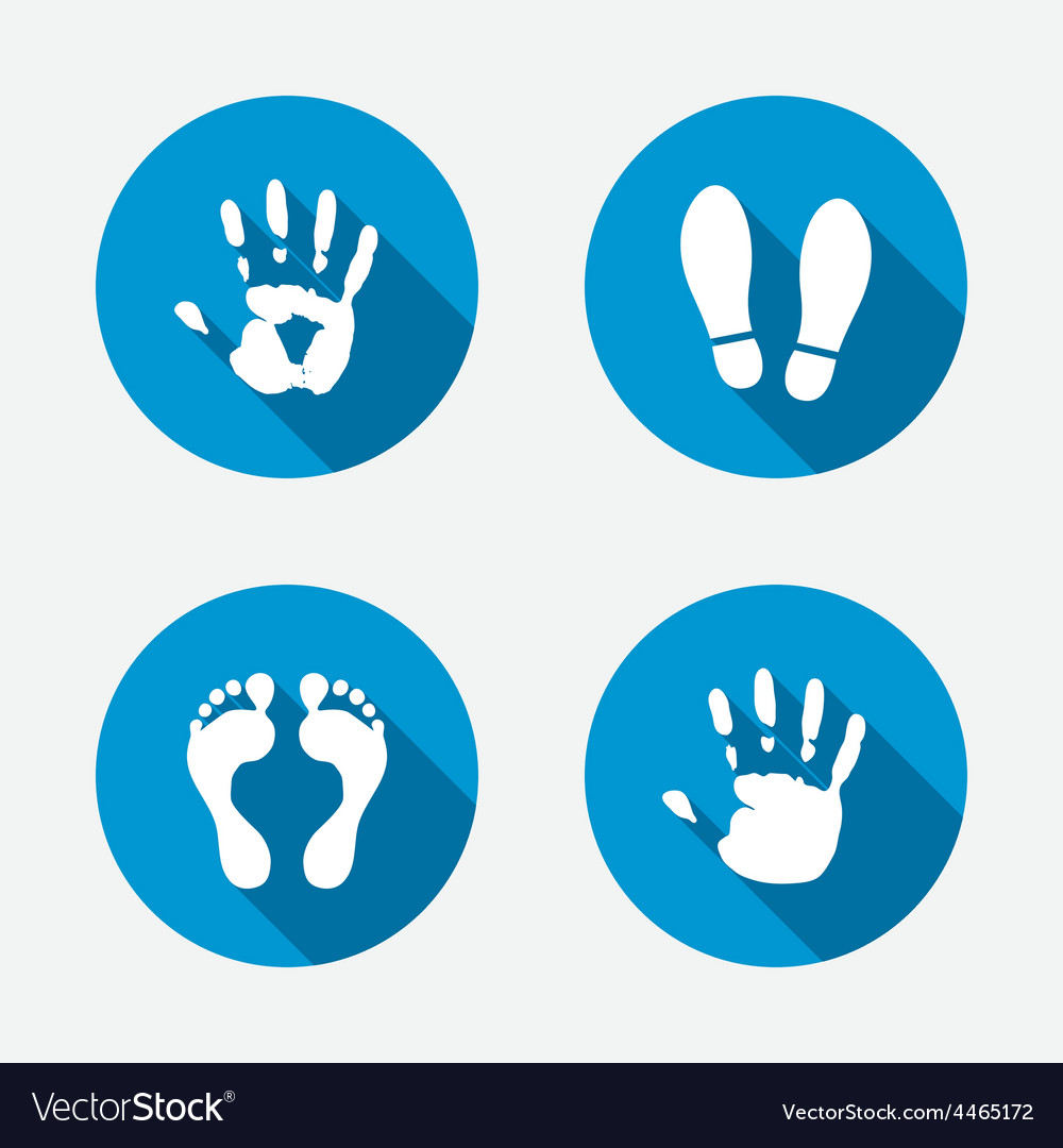 Hand and foot print icons imprint shoes symbol vector | Price: 1 Credit (USD $1)