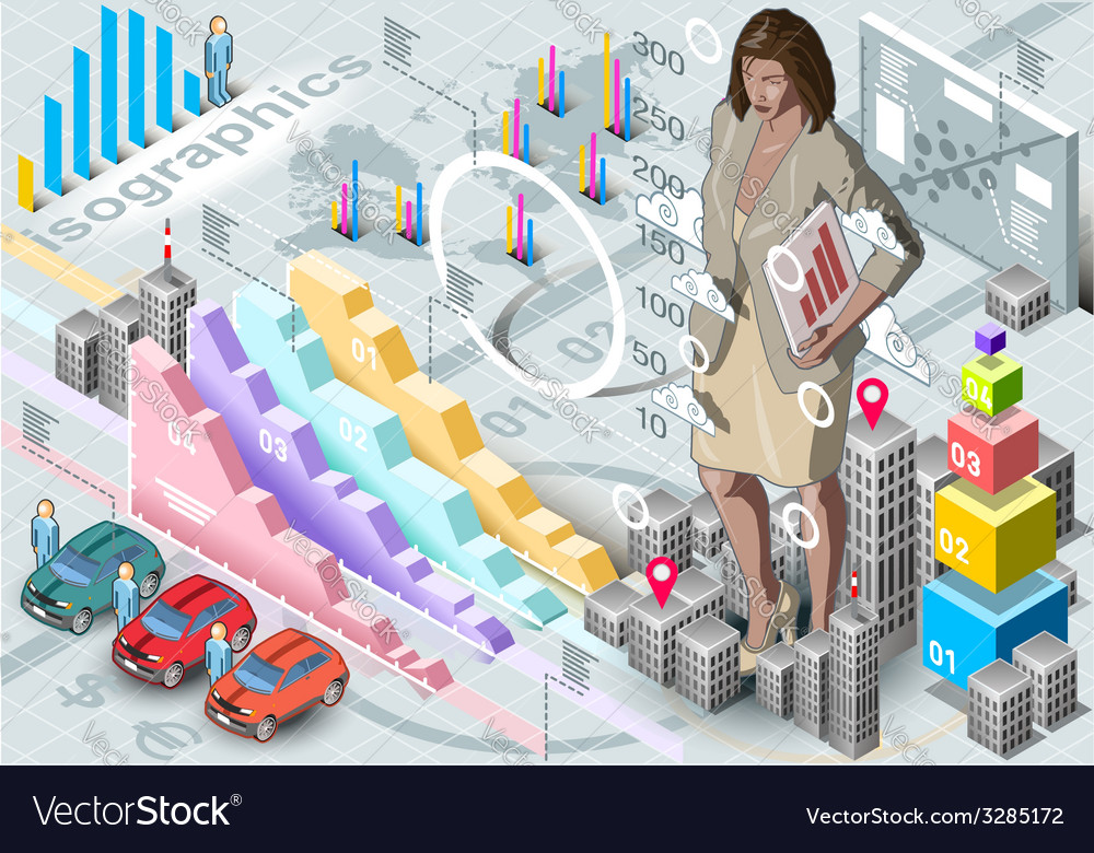 Isometric infographic woman secretary set elements vector | Price: 3 Credit (USD $3)