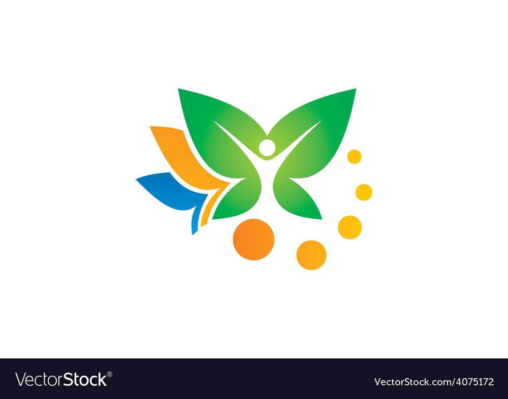 Leaf vegetarian people spa logo vector | Price: 1 Credit (USD $1)