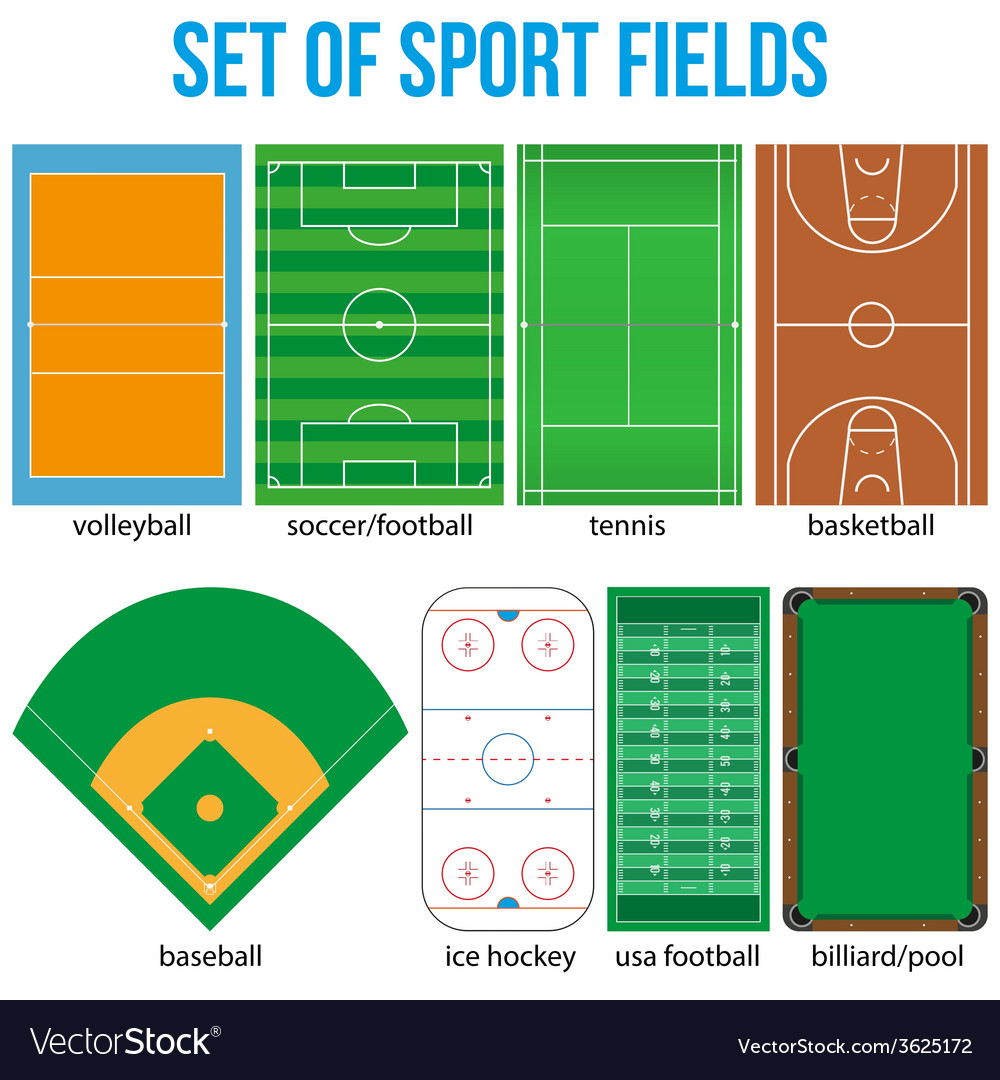 Set of most popular sample sport fields vector | Price: 1 Credit (USD $1)