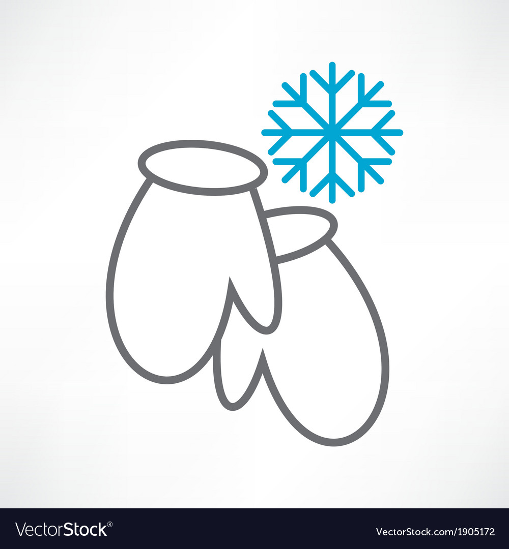 Two mittens and snowflake vector | Price: 1 Credit (USD $1)