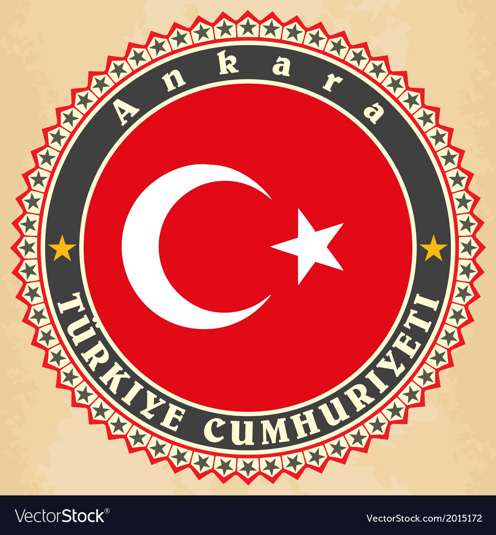 Vintage label cards of turkey flag vector | Price: 1 Credit (USD $1)