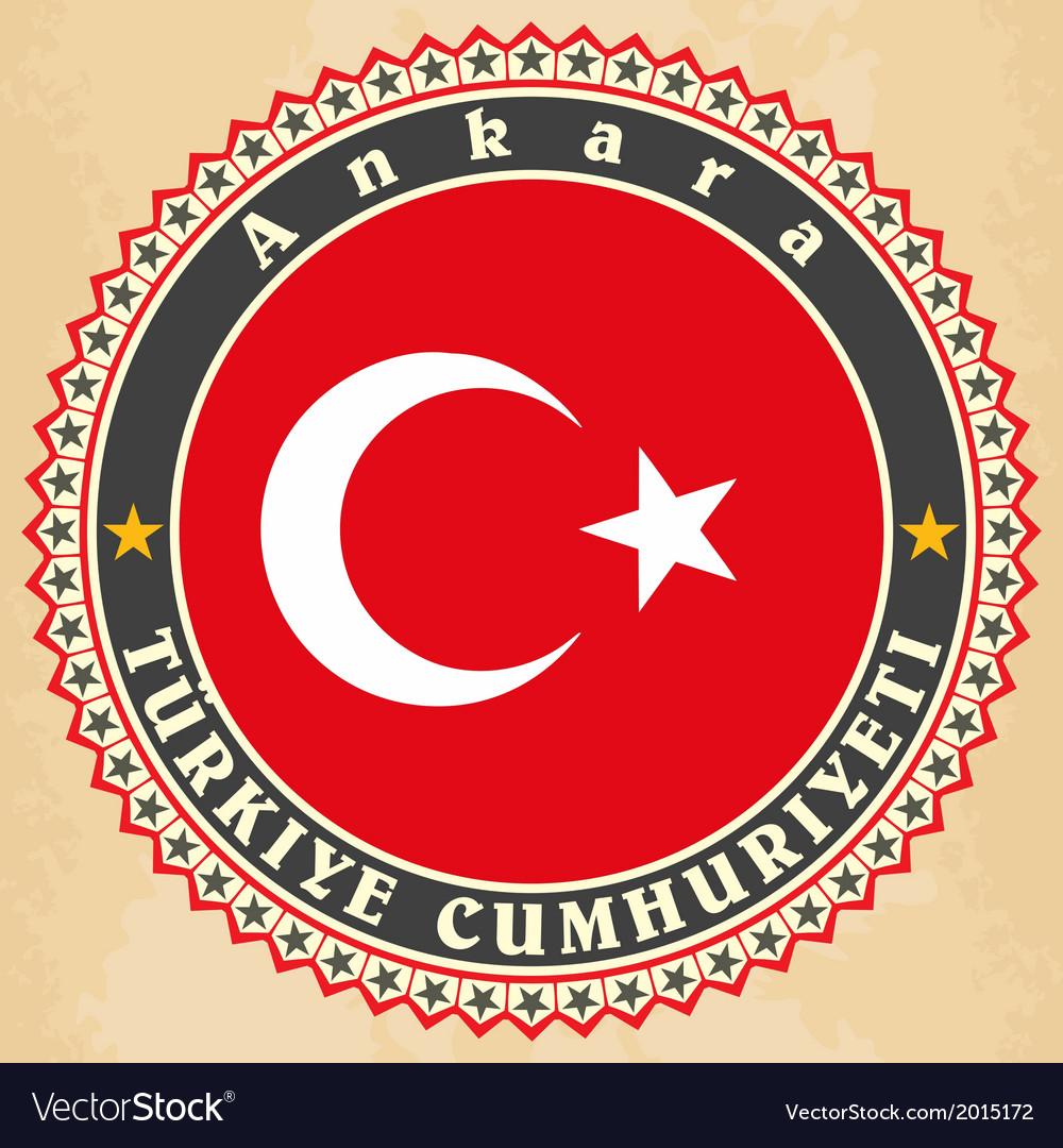 Vintage label cards of turkey flag vector   Price: 1 Credit (USD $1)