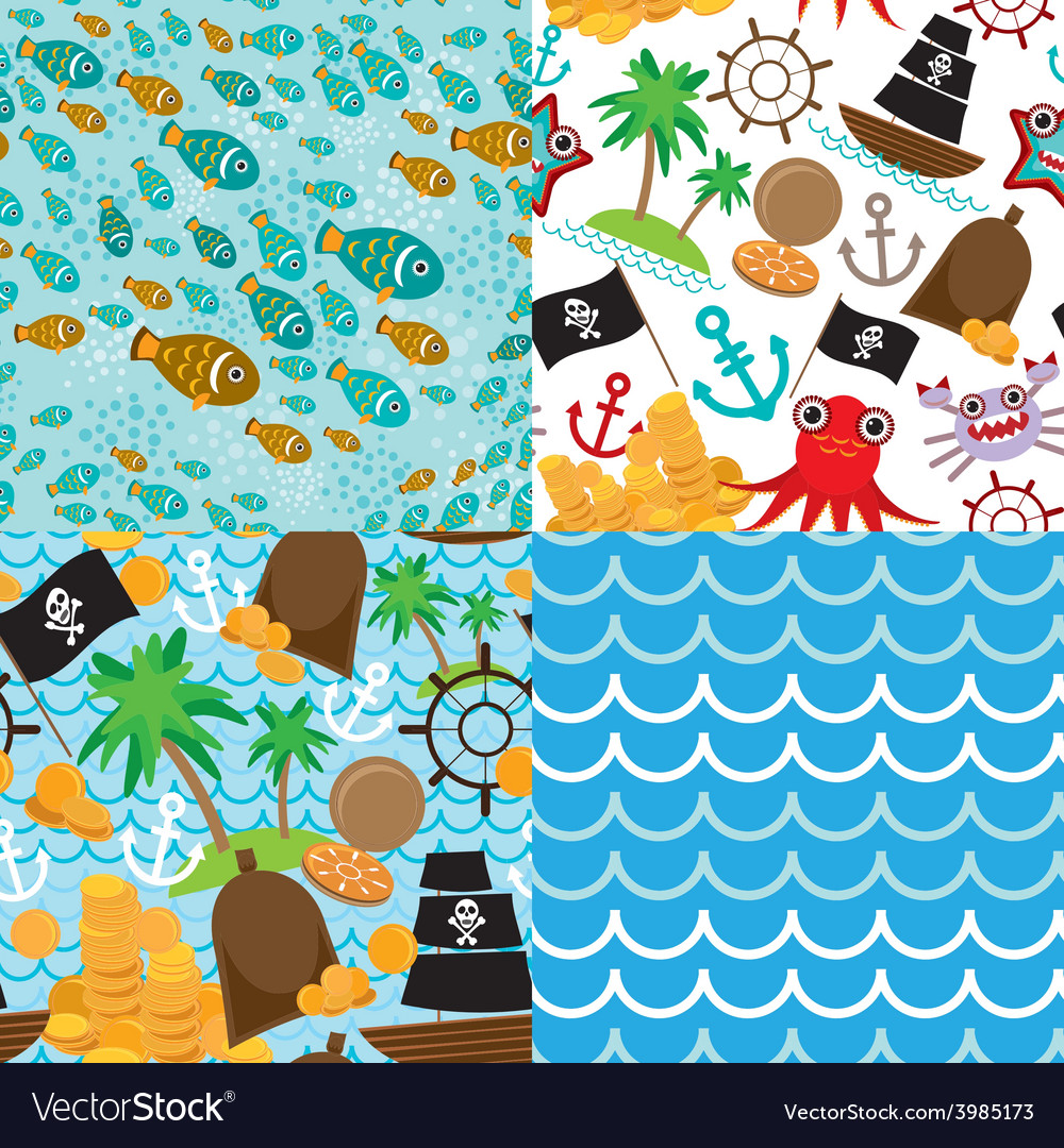 4 seamless background set of pirate island vector | Price: 1 Credit (USD $1)