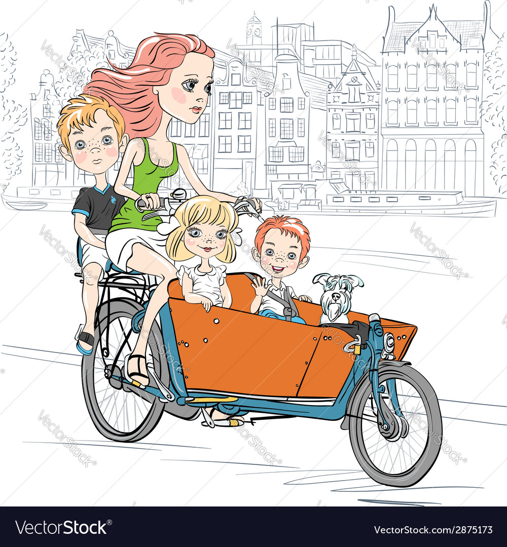 Beautiful girl carries child on the bike in amster vector | Price: 1 Credit (USD $1)