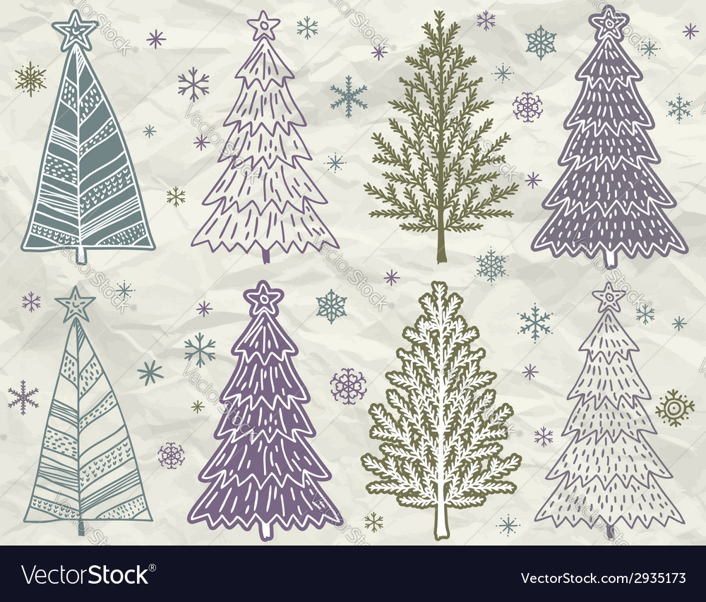 Christmas trees on beije crumple background vector | Price: 1 Credit (USD $1)