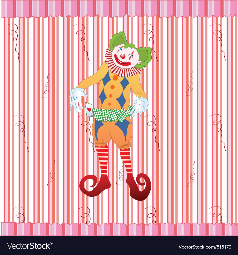 Clown juggling colorful playing card vector | Price: 1 Credit (USD $1)