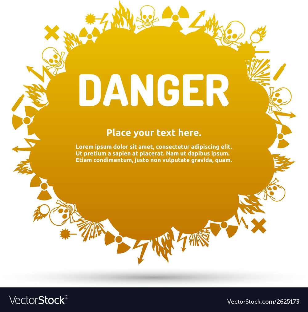 Danger sign set in cloud banner vector | Price: 1 Credit (USD $1)