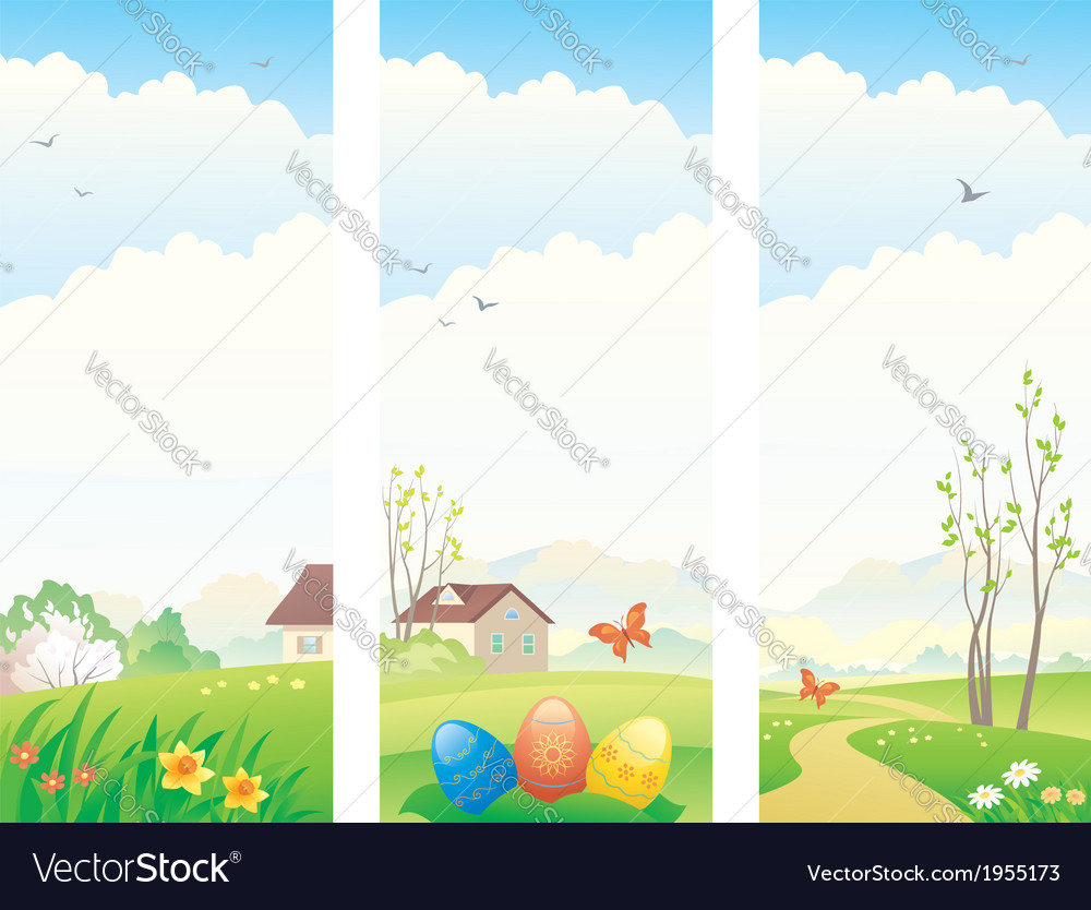 Easter and spring vertical banners vector | Price: 1 Credit (USD $1)
