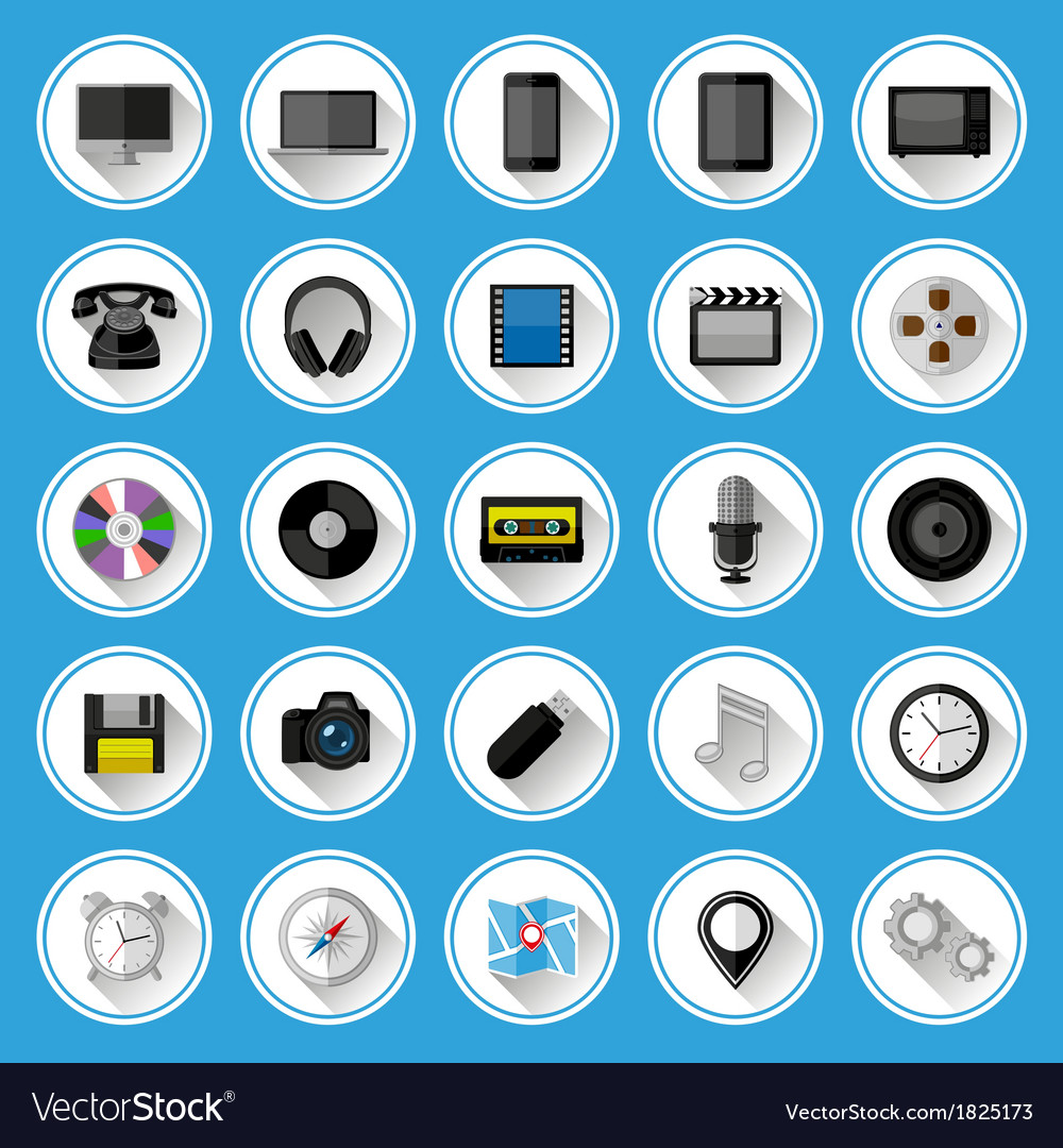 Flat icons and pictograms set vector | Price: 1 Credit (USD $1)