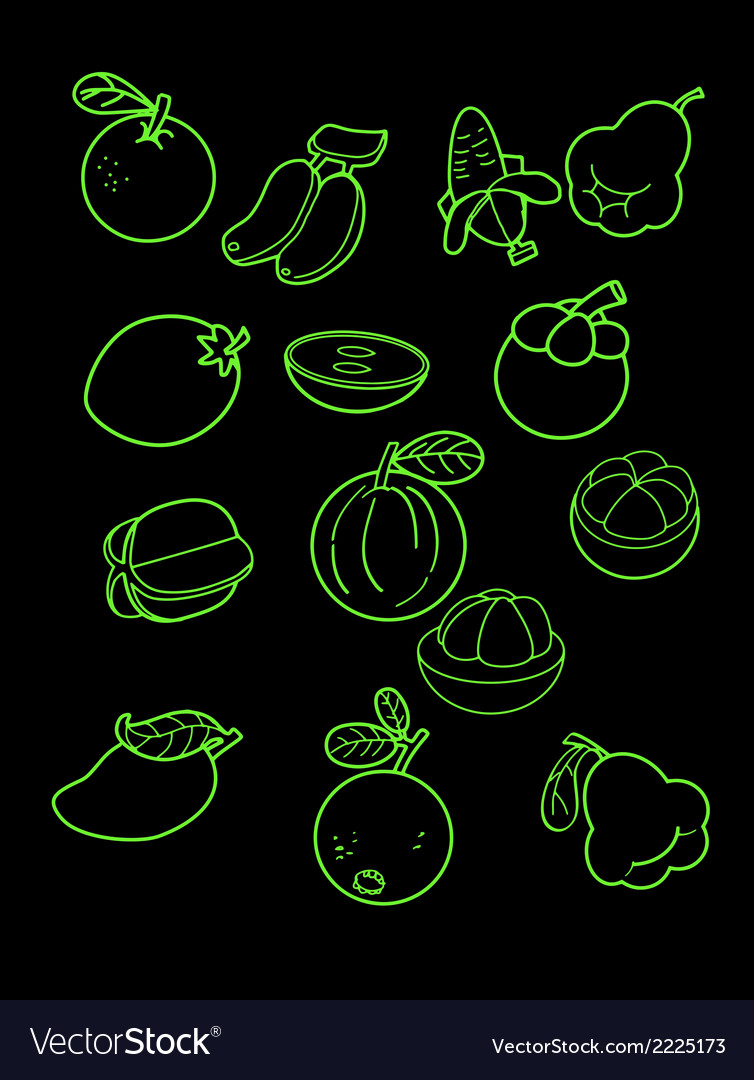 Freehand drawing fruit on black vector | Price: 1 Credit (USD $1)