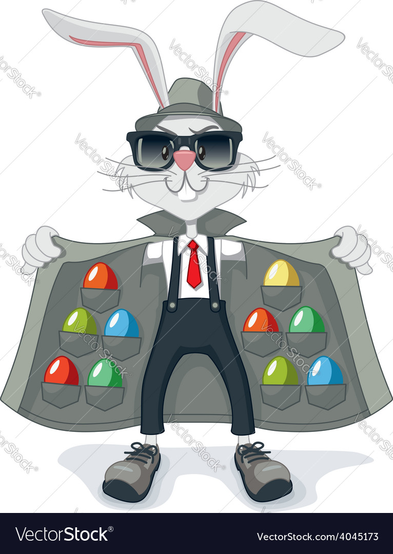 Funny rabbit with contraband easter eggs cartoon vector   Price: 3 Credit (USD $3)