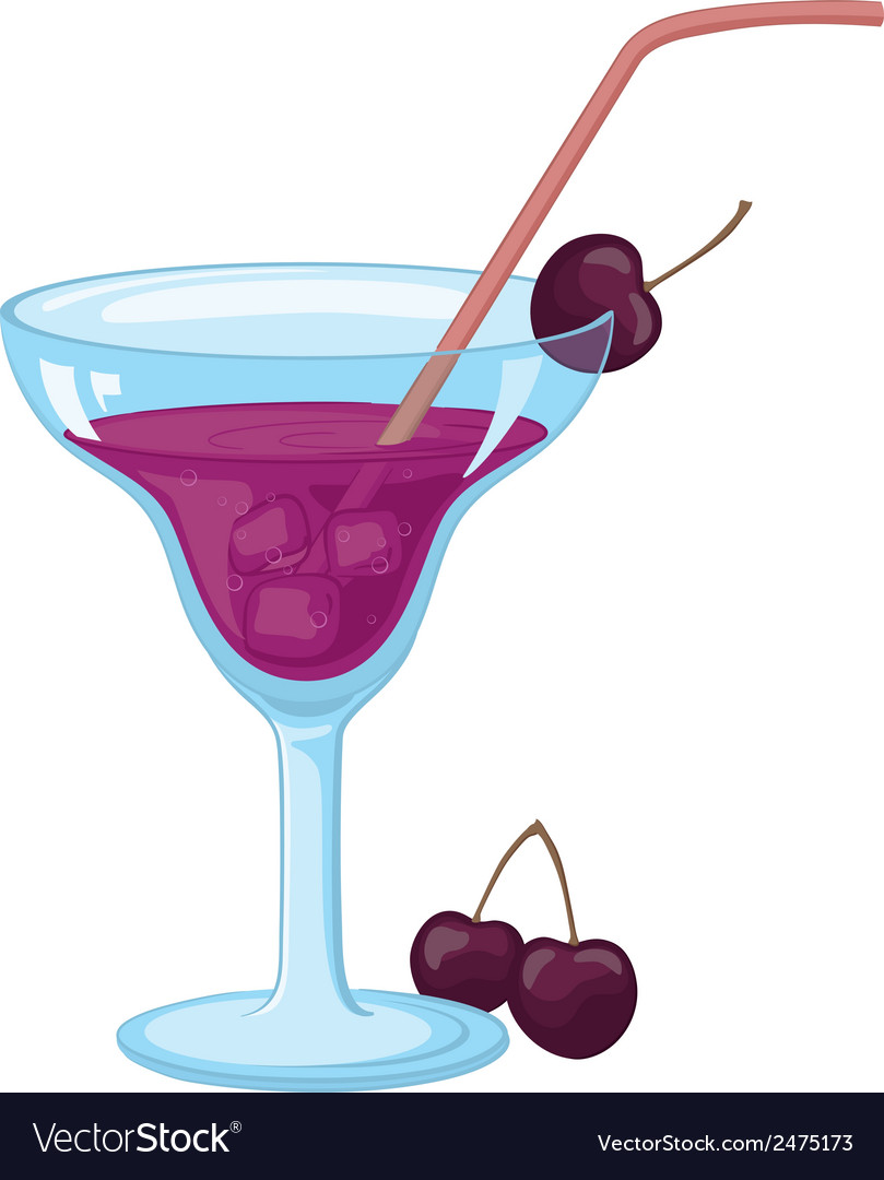 Glass with ice drink and cherries vector | Price: 1 Credit (USD $1)