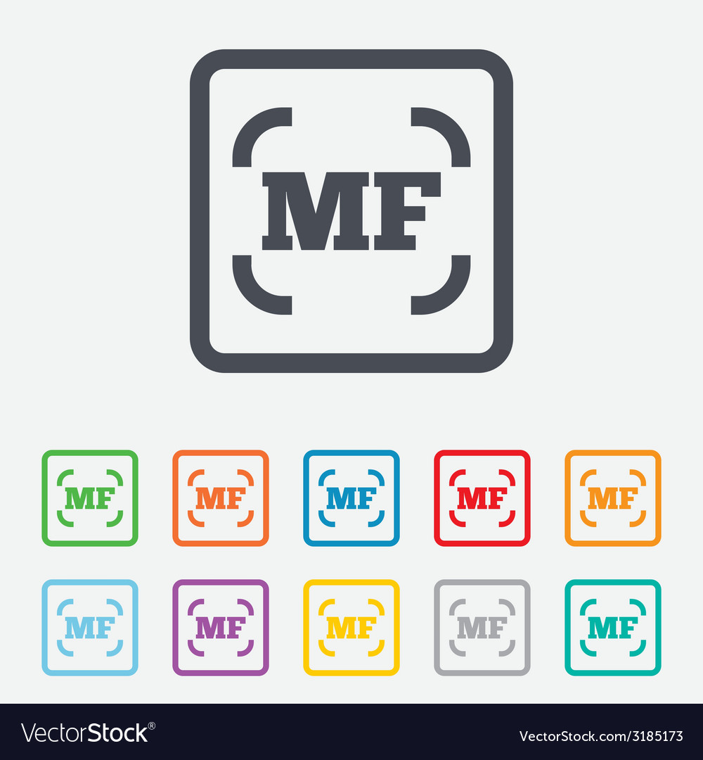 Manual focus photo camera sign icon mf settings vector | Price: 1 Credit (USD $1)
