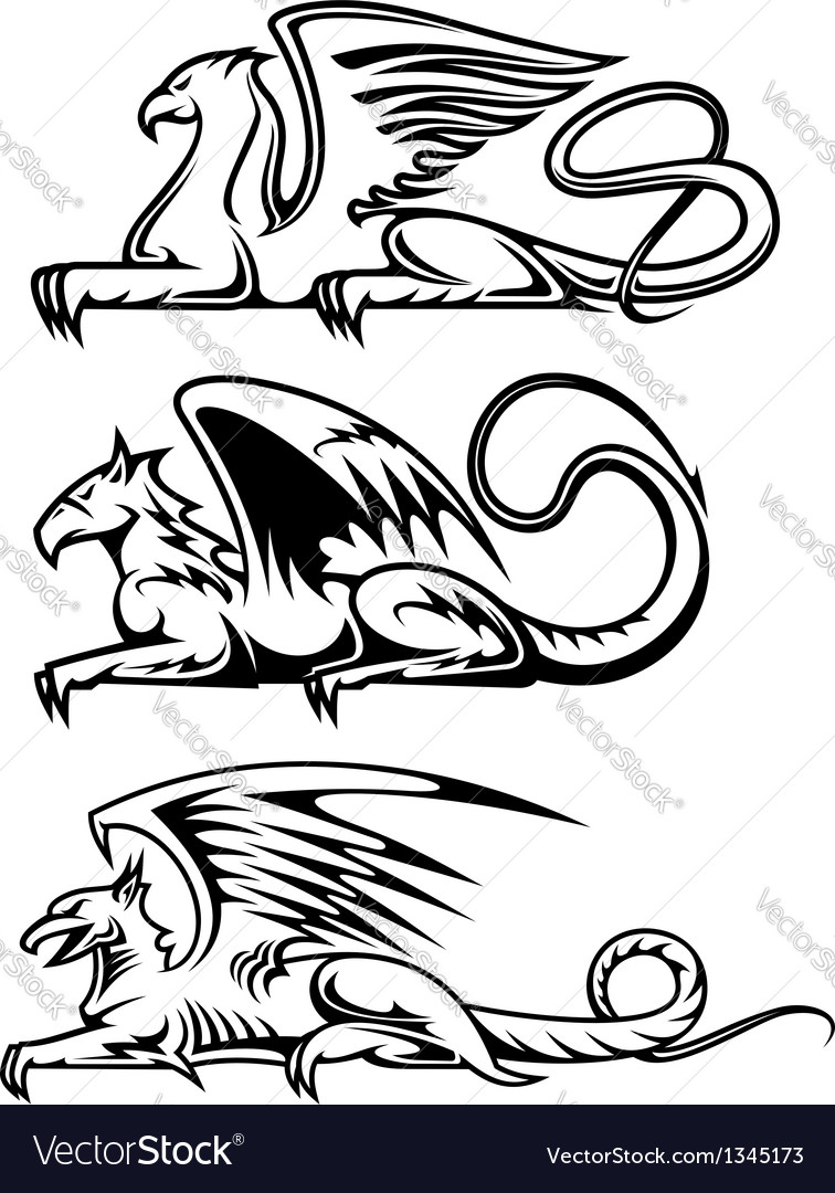 Medieval gryphons set vector | Price: 1 Credit (USD $1)