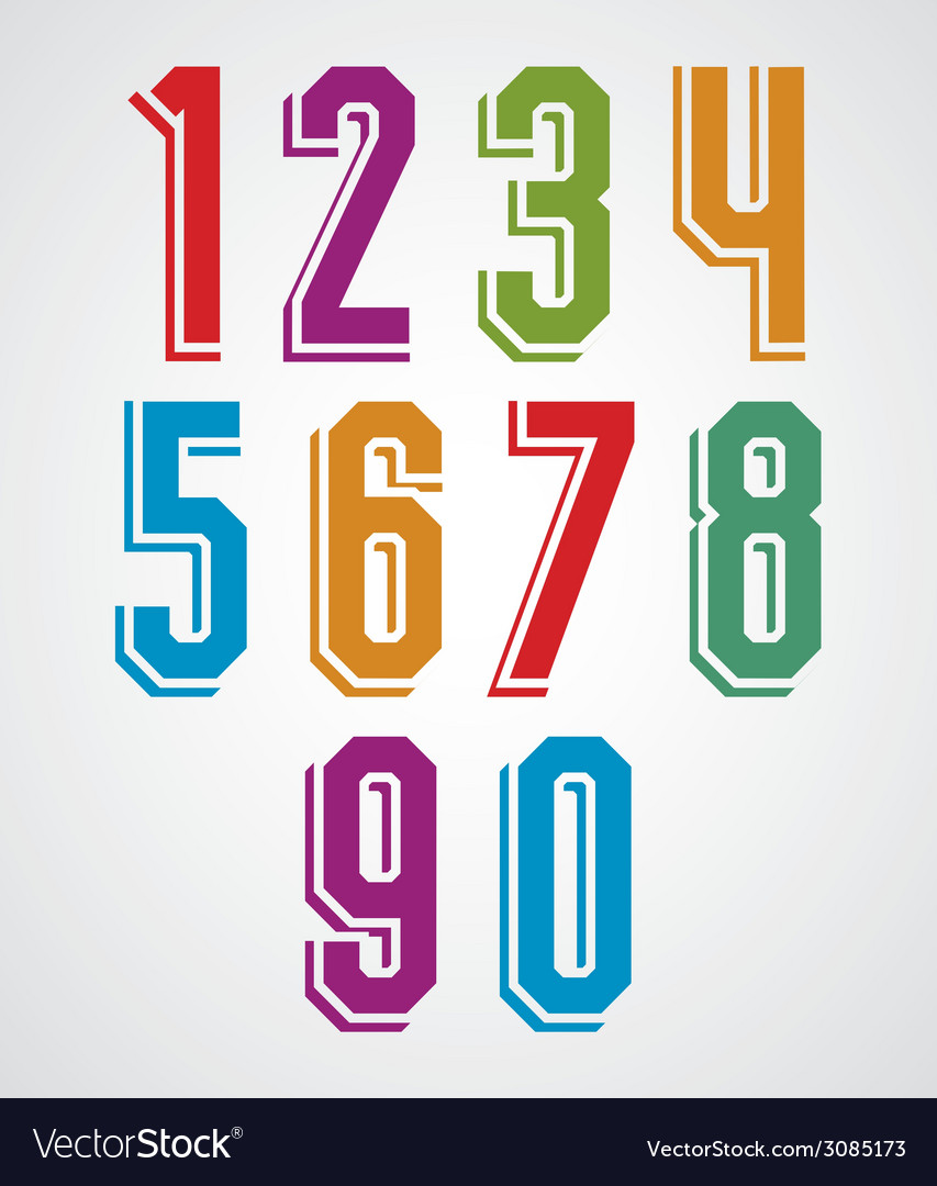 Retro numbers set geometric numerals typeface vector | Price: 1 Credit (USD $1)