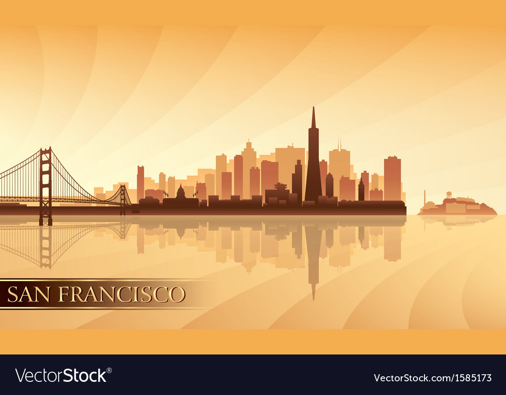 San francisco city skyline silhouette background vector | Price: 1 Credit (USD $1)