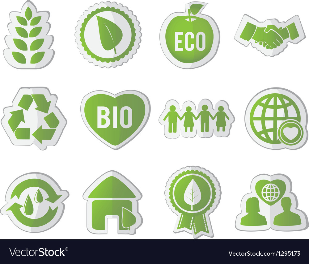Set of eco stickers vector | Price: 1 Credit (USD $1)