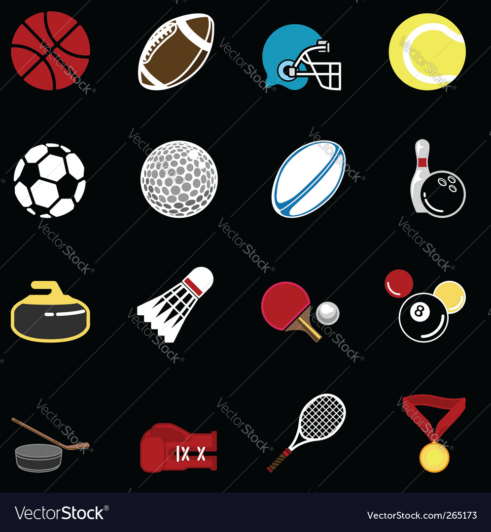 Sports icon set vector | Price: 1 Credit (USD $1)