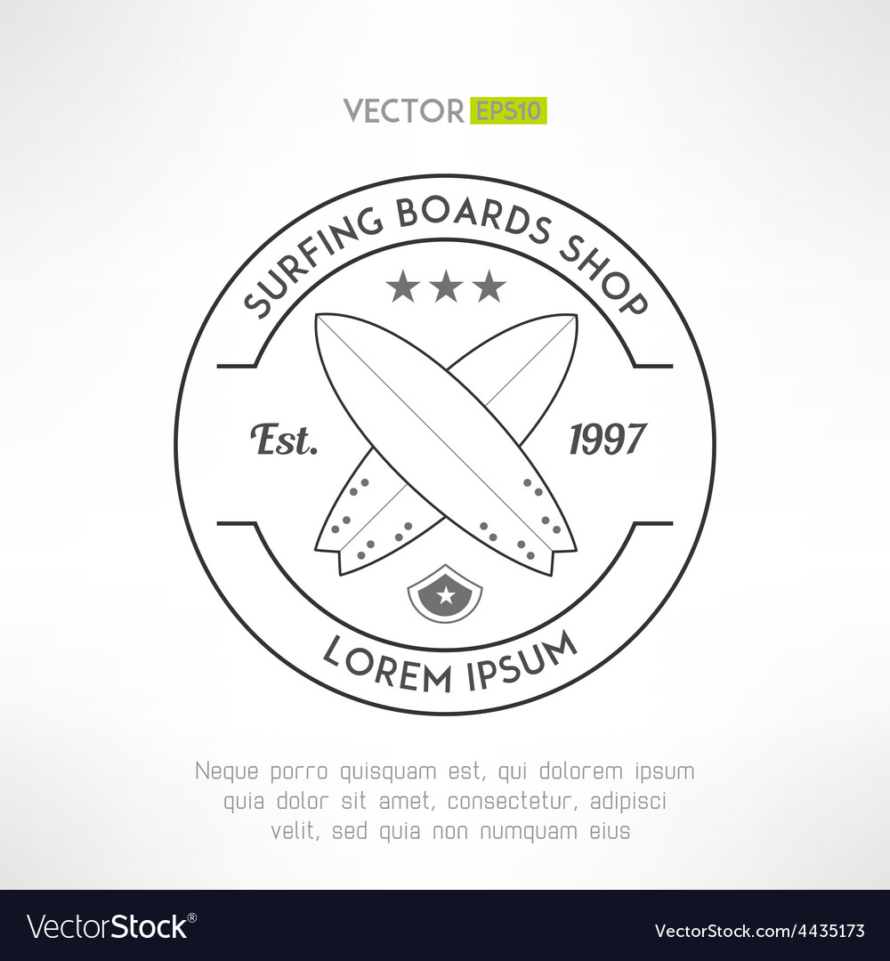 Surfing company label logo made in modern vintage vector | Price: 1 Credit (USD $1)