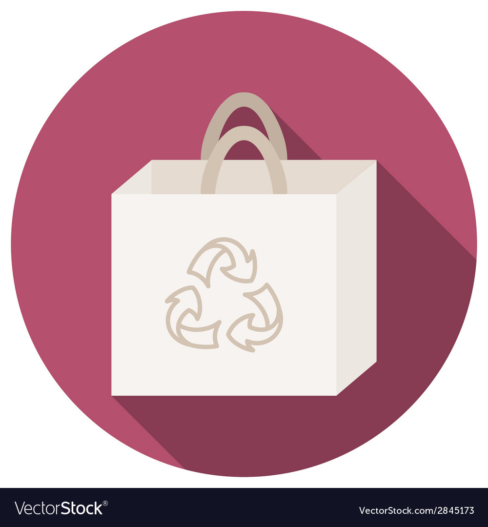Trendy round eco recycle bag icon with long shadow vector | Price: 1 Credit (USD $1)