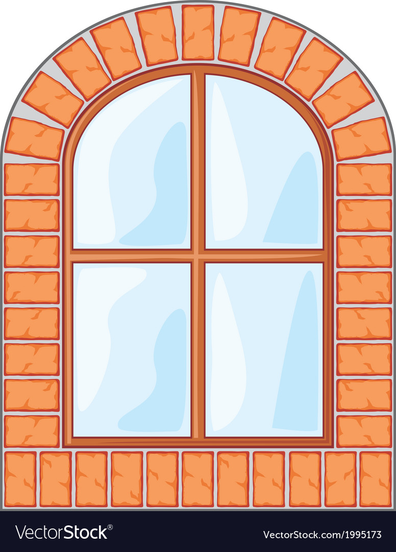 Wooden window on brick wall vector | Price: 1 Credit (USD $1)